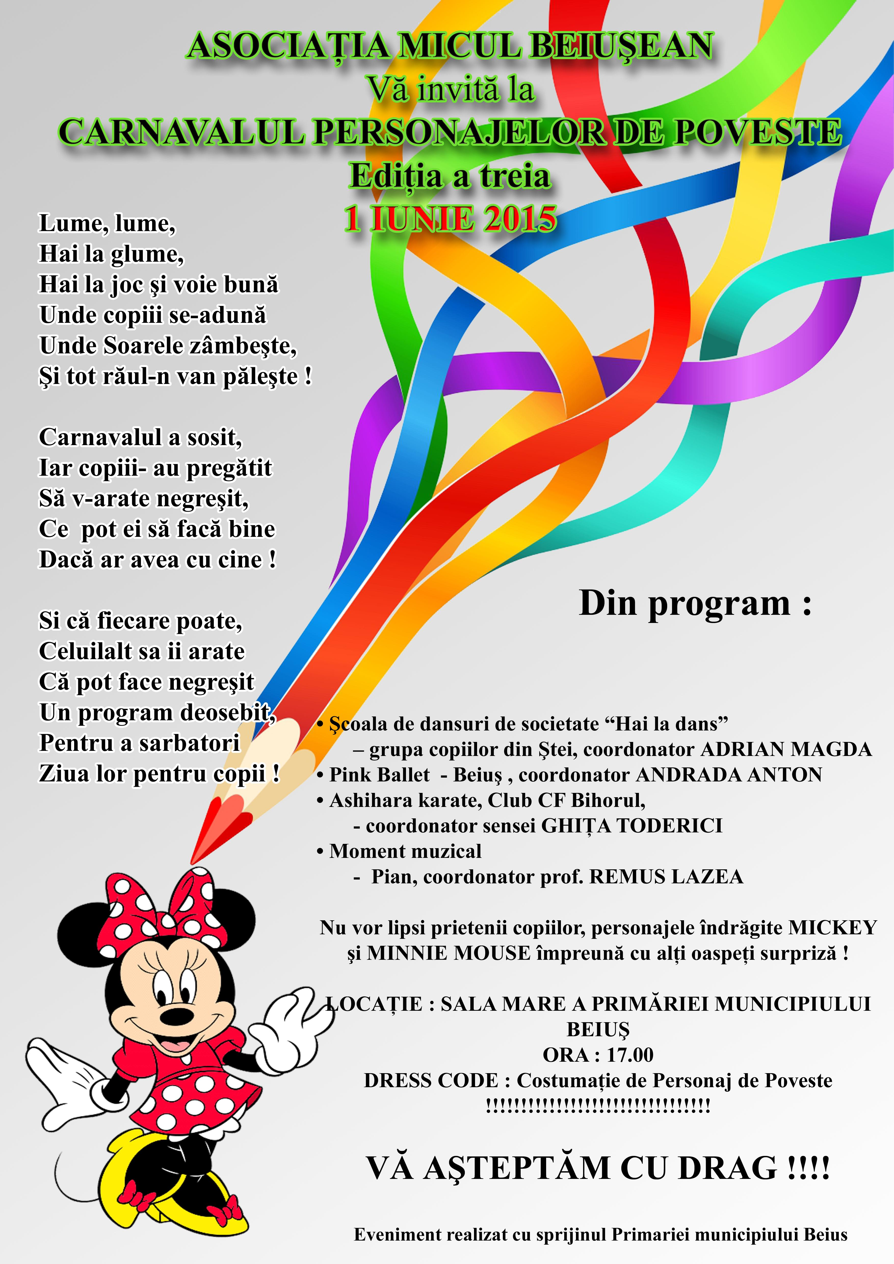 Carnavalul personajelor de poveste,  editia a III a, 1 iunie 2015