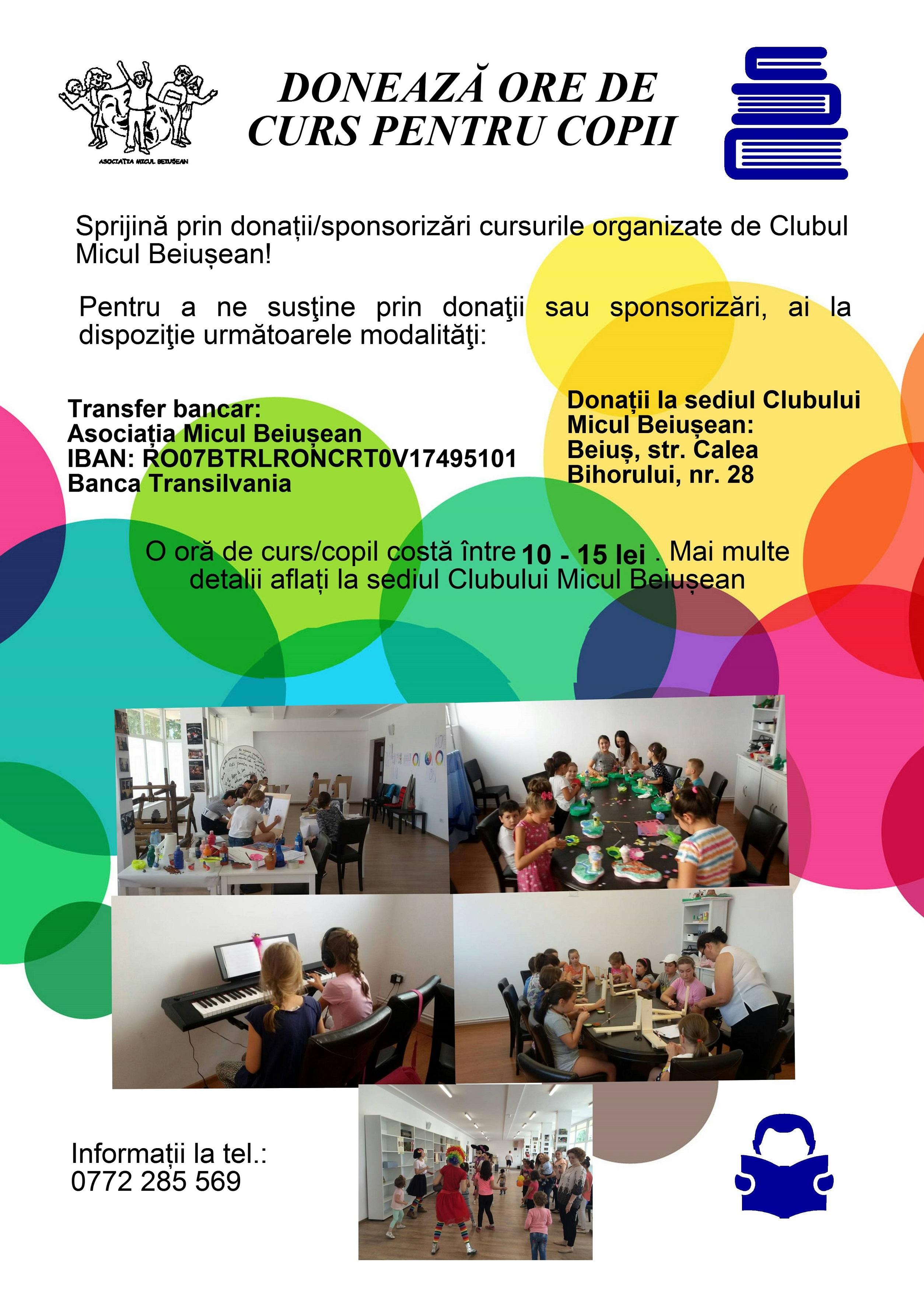 Doneaza ore de curs pentru copii