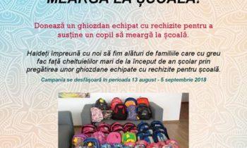 Ajută un copil să meargă la școală  – 2018!